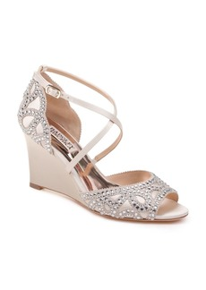 Badgley Mischka Women's Winter Embellished Satin Wedge Sandals