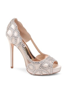 Badgley Mischka Women's Witney Embellished Satin & Mesh Platform High-Heel Pumps