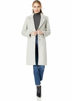 Badgley Mischka Women's Wool Mid Length Coat with Pearl Embellishments