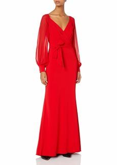 Badgley Mischka Women's Wrap Dress Gown