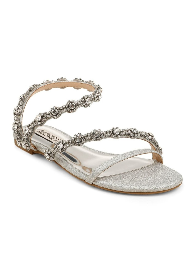 Badgley Mischka Women's Zia Crystal Embellished Glitter Slide Sandals