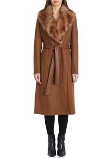 Badgley Mischka Wrap Coat with Genuine Lamb Fur Collar