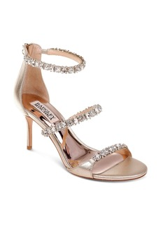 Badgley Mischka Yasmine Embellished Satin Sandals