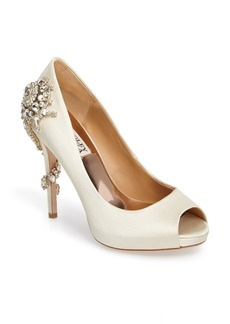 Badgley Mischka Badgley Mischka 'Royal' Crystal Embellished Peeptoe Pump (Women)
