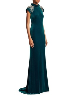 Badgley Mischka Beaded Cap Sleeve Gown