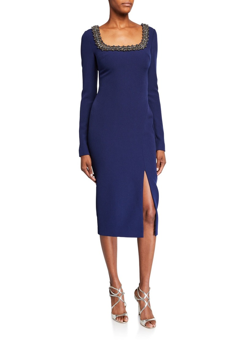 Badgley Mischka Beaded Square-Neck Long-Sleeve Dress w/ Front Slit