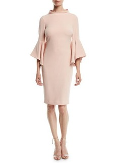 Badgley Mischka Bell-Sleeve Faille Cocktail Dress