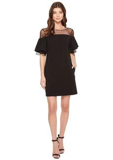 Badgley Mischka Bell Sleeve Sack Dress w/ Swiss Dot