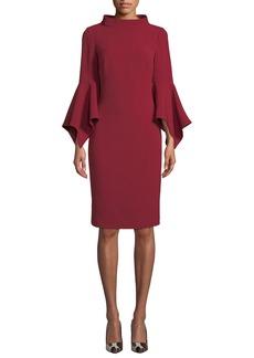 Badgley Mischka Bell-Sleeve Sheath Dress