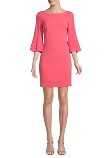 Badgley Mischka Bell-Sleeve Sheath Dress