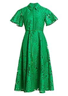 Badgley Mischka Belted Leaf Lace Dress