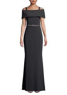 Badgley Mischka Belted Off-the-Shoulder Gown
