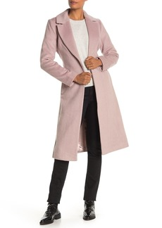 Badgley Mischka Belted Wool Blend Wrap Coat