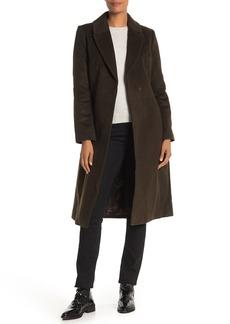 Badgley Mischka Belted Wool Blend Wrap Coat
