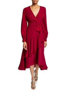 Badgley Mischka Blouson-Sleeve  Flounce Faux-Wrap Midi Dress