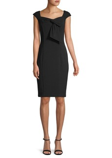 Badgley Mischka Bow-Accented Cap-Sleeve Sheath Dress