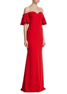 Badgley Mischka Bow Back Off-The-Shoulder Gown