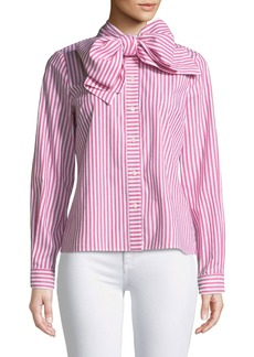 Badgley Mischka Candy Stripe Long-Sleeve Bow-Collar Blouse