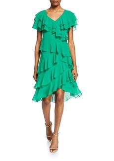 Badgley Mischka Cattiva V-Neck Short-Sleeve High-Low Tiered Ruffle Dress