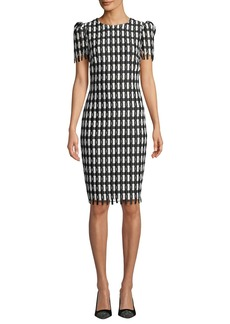 Badgley Mischka Checkered Short-Sleeve Knee-Length Sheath Dress