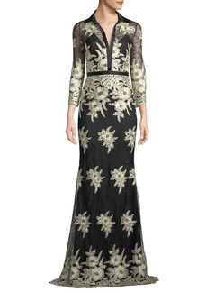 Badgley Mischka Collared Floral Lace Shirt Dress