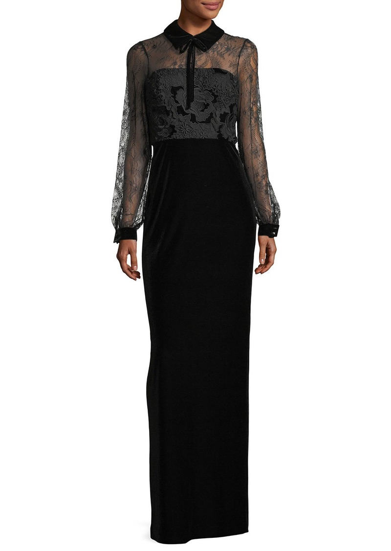 Badgley Mischka Collared Lace-Top Velvet Evening Gown | Dresses