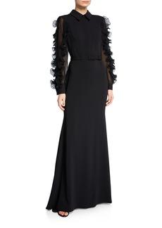 Badgley Mischka Collared Long-Sleeve Ruffle-Trim Shirtdress Gown