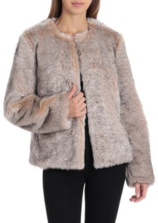 Badgley Mischka Collarless Faux-Fur Jacket
