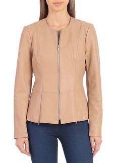 Badgley Mischka Collarless Lambskin Leather Peplum Jacket