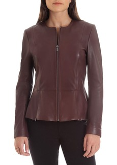 Badgley Mischka Collarless Lambskin Leather Peplum Jacket