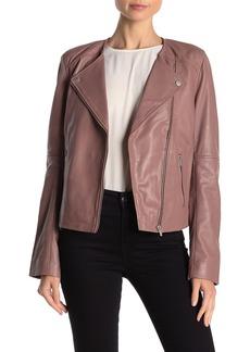 Badgley Mischka Collarless Leather Biker Jacket