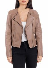 Badgley Mischka Collarless Smooth Leather Biker Jacket