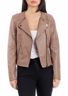 Badgley Mischka Collarless Smooth Leather Biker Jacket