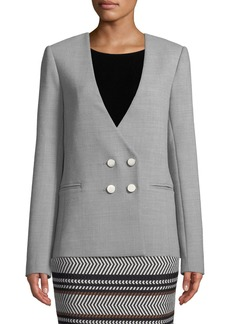 Badgley Mischka Collarless Twill Four-Button Blazer