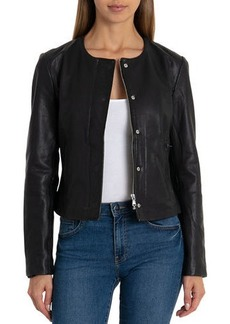 Badgley Mischka Collarless Zip-Front Lambskin Leather Jacket