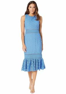 Badgley Mischka Combo Lace Flare Dress