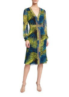 Badgley Mischka Contrast Border Print Long-Sleeve Dress