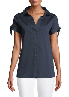 Badgley Mischka Cotton-Blend Blouse w/ Tie Sleeves