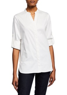 Badgley Mischka Cotton Button-Up Blouse