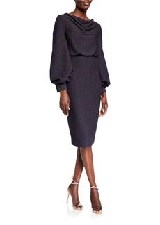 Badgley Mischka Cowl-Neck Blouson Jacquard Sheath Dress