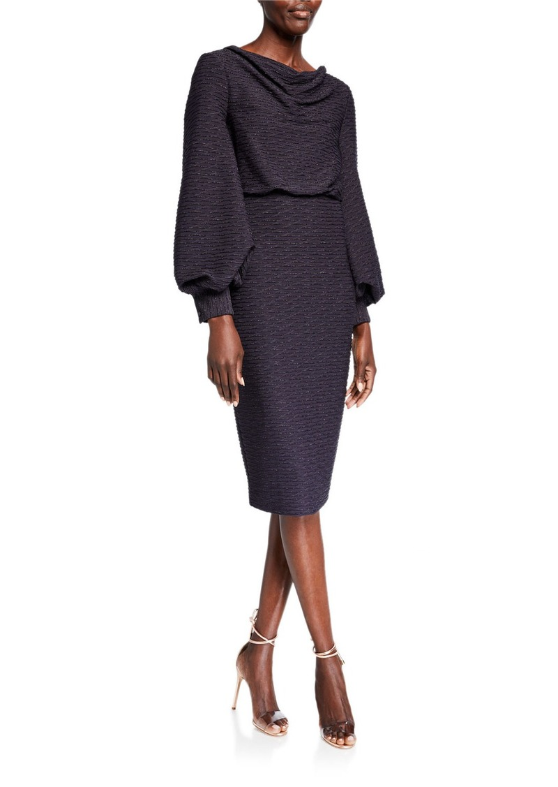 Badgley Mischka Cowl-Neck Blouson Jacquard Sheath Dress