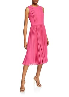 Badgley Mischka Crewneck Sleeveless Pleated Cocktail Dress