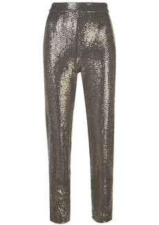 Badgley Mischka cropped sequin embellished trousers
