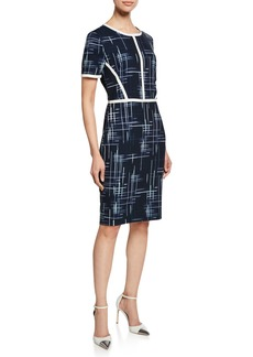 Badgley Mischka Cross Hatch Short-Sleeve Sheath Dress