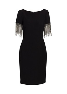 Badgley Mischka Crystal Fringe-Sleeve Sheath Dress