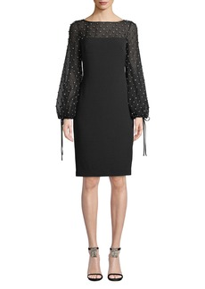 Badgley Mischka Crystal-Trim Balloon-Sleeve Sheath Cocktail Dress