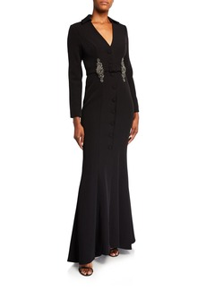 Badgley Mischka Deep V-Neck Coat Gown w/ Beaded Belt Loops