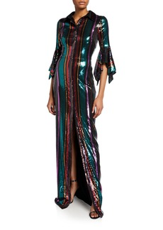 Badgley Mischka Disco Stripe Sequin Column Gown with Slit