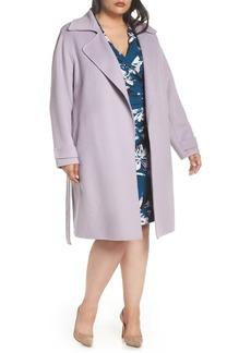 Badgley Mischka Double Face Wool Blend Wrap Front Coat (Plus Size)