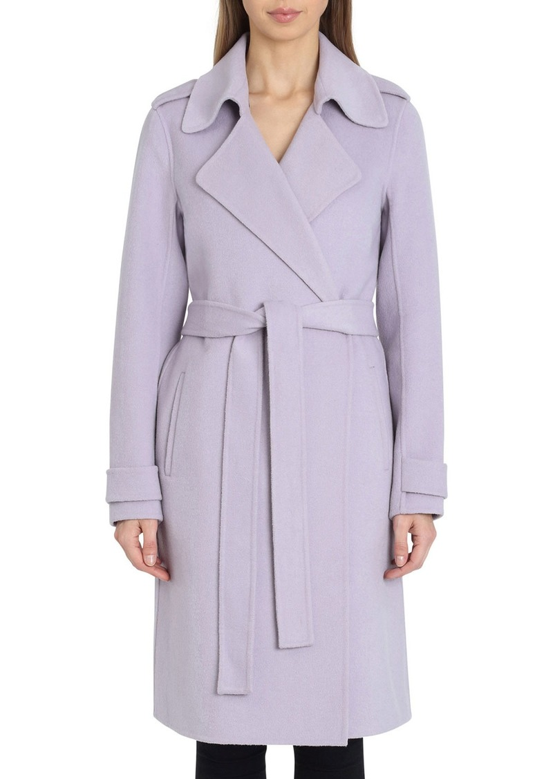 Badgley Mischka Double-Face Wool Knee-Length Wrap Coat